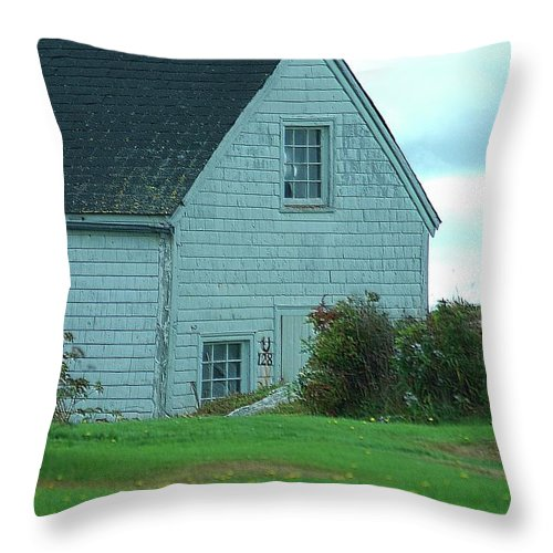 Boathouse Throw Pillow featuring the photograph Blue Boathouse by Kathleen Struckle