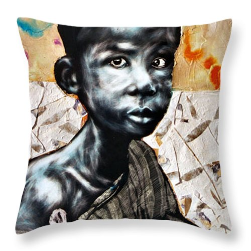 Portriat Throw Pillow featuring the mixed media Blue Boy In A Big Sweater by Chester Elmore