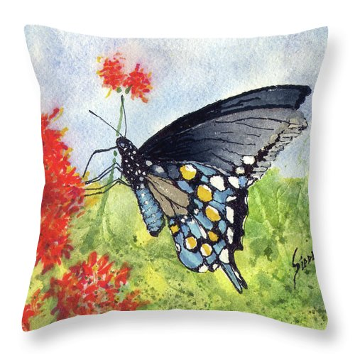 Flower Throw Pillow featuring the painting Blue Boy by Sam Sidders