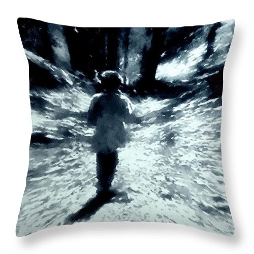 Blue Throw Pillow featuring the painting Blue Boy Walking Into The Future by RC DeWinter