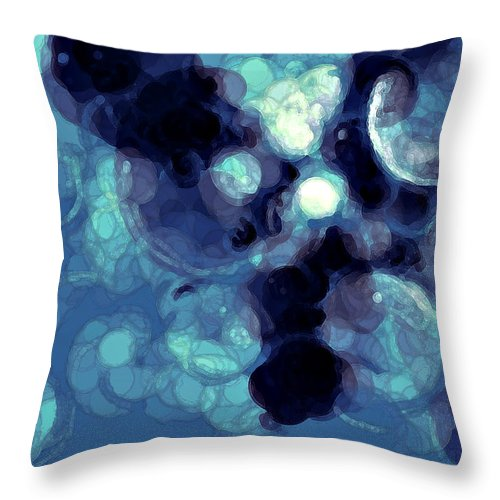 Bubbles Throw Pillow featuring the digital art Blue Bubbles by Alexandra Cook
