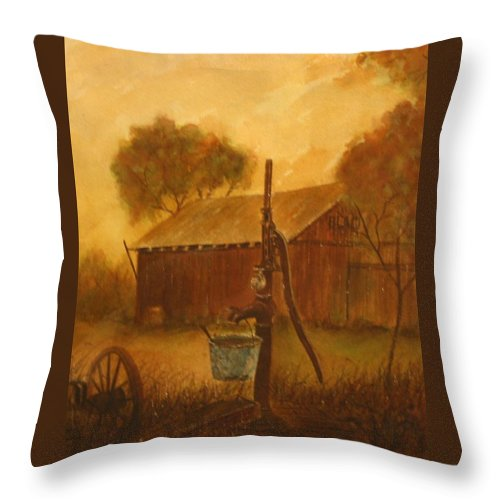 Barn; Bucket; Country Throw Pillow featuring the painting Blue Bucket by Ben Kiger
