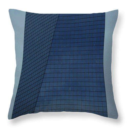 City Throw Pillow featuring the photograph Blue Building by Linda Sannuti