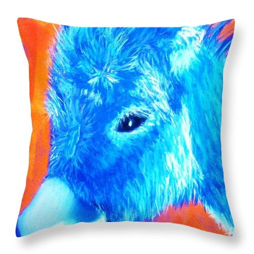 Burro Throw Pillow featuring the painting Blue Burrito by Melinda Etzold