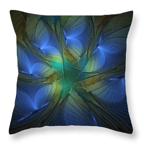 Digital Art Throw Pillow featuring the digital art Blue Butterflies by Amanda Moore