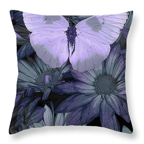 Butterfly Throw Pillow featuring the painting Blue Butterfly by JQ Licensing