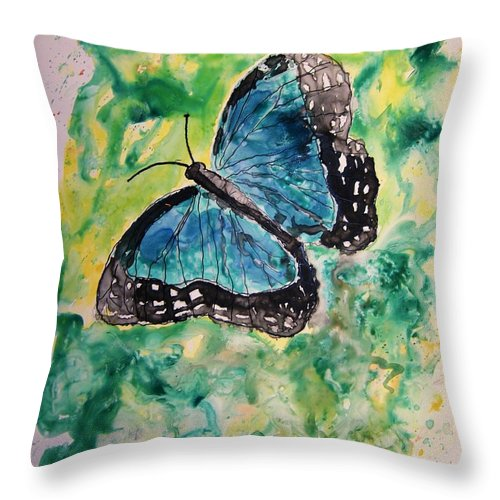 Wildlife Throw Pillow featuring the painting Blue Butterfly by Derek Mccrea