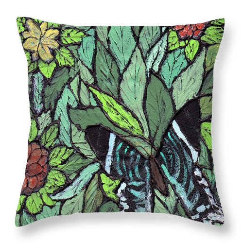 Butterfly Throw Pillow featuring the painting Blue Butterfly by Wayne Potrafka