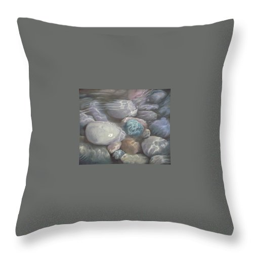 Pebbles Water Oil Blue Sea Underwater Throw Pillow featuring the painting Blue Calm by Caroline Philp