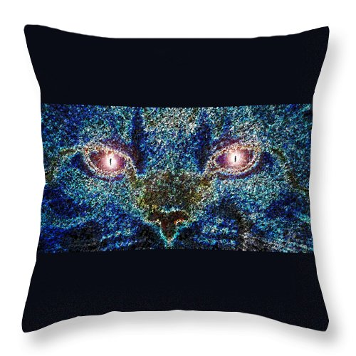 Art Throw Pillow featuring the painting Blue Cat by David Lee Thompson