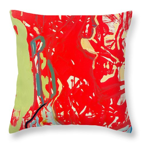Nude Throw Pillow featuring the painting Blue Chair by Kurt Hausmann