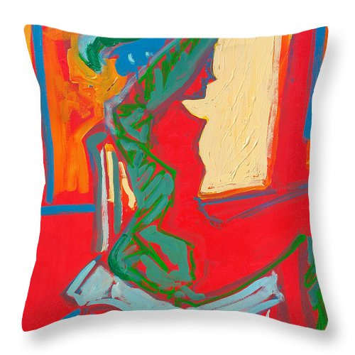 Woman Throw Pillow featuring the painting Blue Chair Study by Kurt Hausmann
