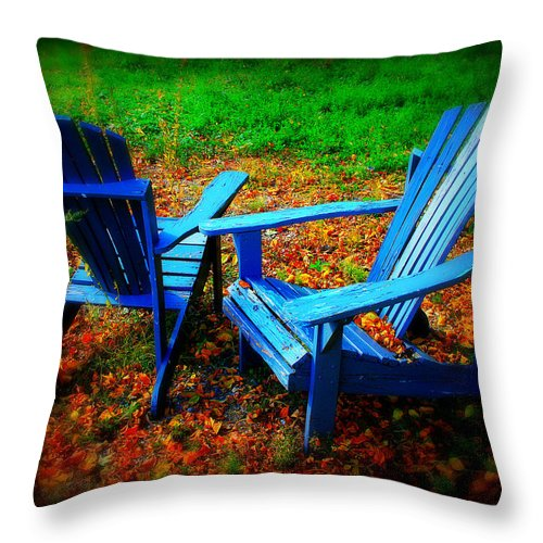 Chair Throw Pillow featuring the photograph Blue Chairs by Perry Webster