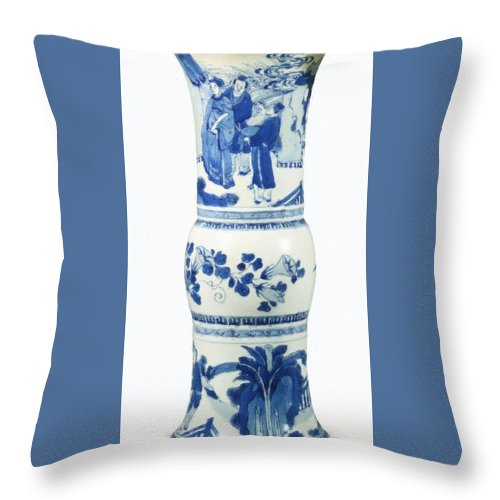 Blue Chinese Chinoiserie Pottery Vase No 3blue & White Chinese Porcelain Around The World Throw Pillow featuring the painting Blue Chinese Chinoiserie Pottery Vase No 3 by Celestial Images
