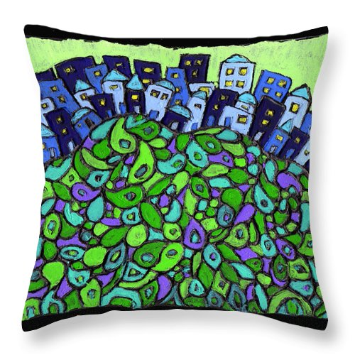 City Throw Pillow featuring the painting Blue City On A Hill by Wayne Potrafka
