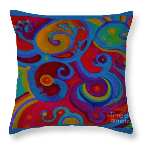 Abstract Throw Pillow featuring the painting Blue Corn Flower by Sidra Myers
