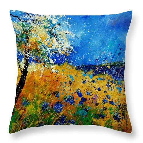 Poppies Throw Pillow featuring the painting Blue cornflowers 450108 by Pol Ledent