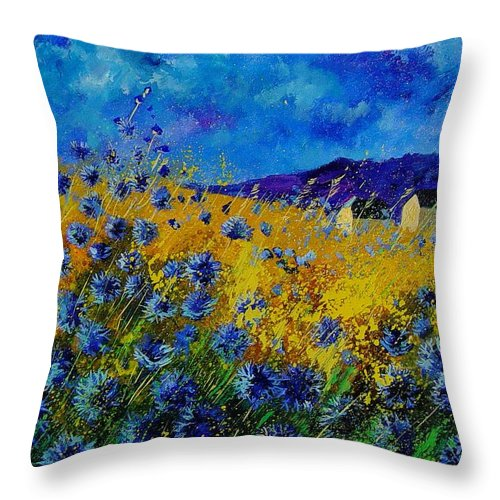 Poppies Throw Pillow featuring the painting Blue cornflowers by Pol Ledent