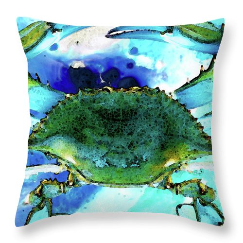 Crab Throw Pillow featuring the painting Blue Crab - Abstract Seafood Painting by Sharon Cummings