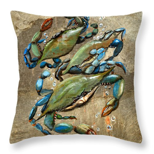 Crabs. Blue Throw Pillow featuring the painting Blue Crabs by Elaine Hodges