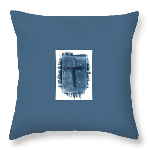 Cyanotype Throw Pillow featuring the photograph Blue Cross by Jane Linders