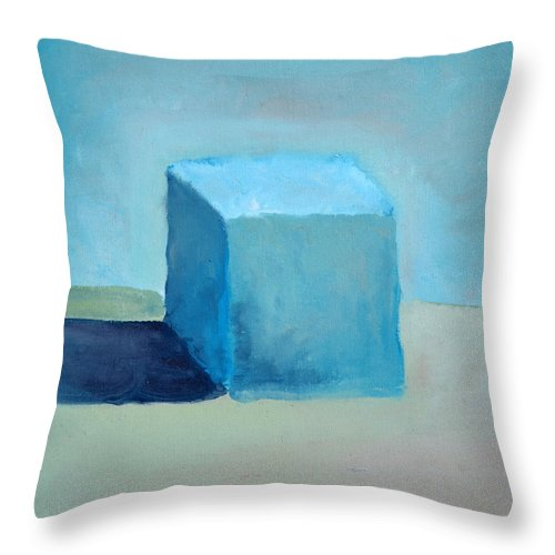 Blue Throw Pillow featuring the painting Blue Cube Still Life by Michelle Calkins