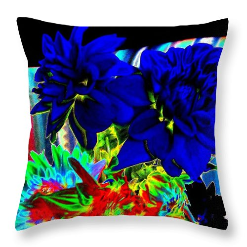 Abstract Throw Pillow featuring the digital art Blue Dahlias by Will Borden