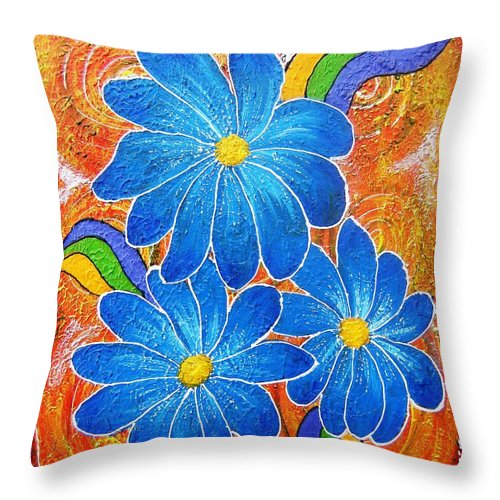 Throw Pillow featuring the painting Blue Daisies Gone Wild by Tami Booher