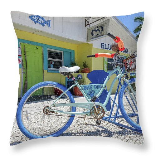 Florida Throw Pillow featuring the photograph Blue Dog Matlacha Island Florida by Edward Fielding