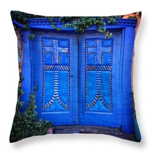 Old Town Albuquerque Throw Pillow featuring the photograph Blue Door In Old Town by Diana Powell
