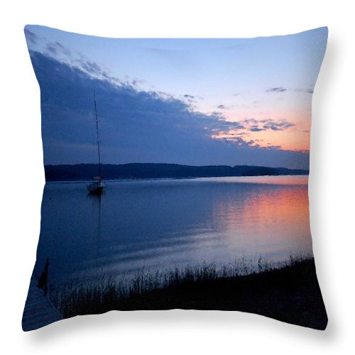 Pelican Throw Pillow featuring the photograph Blue Downtime by Michael Thomas