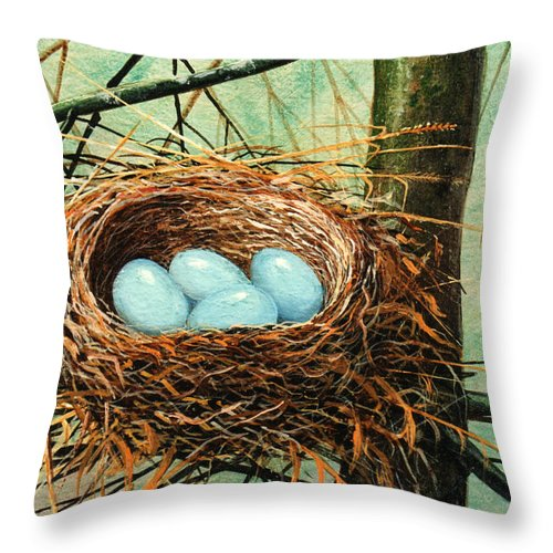 Wildlife Throw Pillow featuring the painting Blue Eggs In Nest by Frank Wilson