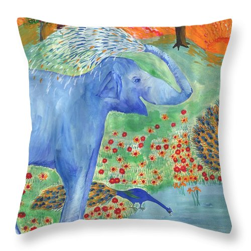 Elephant Throw Pillow featuring the painting Blue Elephant Squirting Water by Sushila Burgess