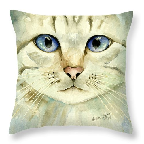 Cat Throw Pillow featuring the painting Blue-eyed Cat by Arline Wagner
