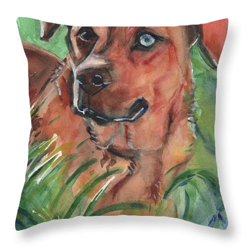 Dog Throw Pillow featuring the painting Blue Eyed Dog by Maria Reichert