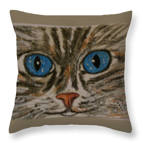 Blue Eyes Throw Pillow featuring the painting Blue Eyed Tiger Cat by Kathy Marrs Chandler
