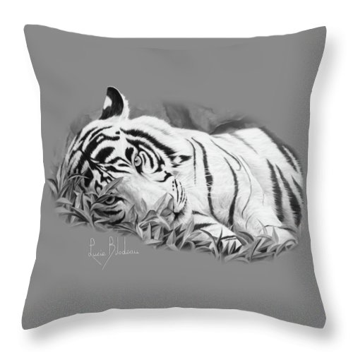 Tiger Throw Pillow featuring the painting Blue Eyes - Black And White by Lucie Bilodeau