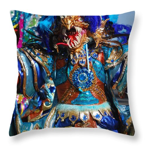 Throw Pillow featuring the photograph Blue Feather Carnival Costume Full by Heather Kirk