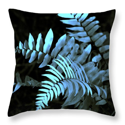 Abstract Throw Pillow featuring the photograph Blue Fern by Susanne Van Hulst