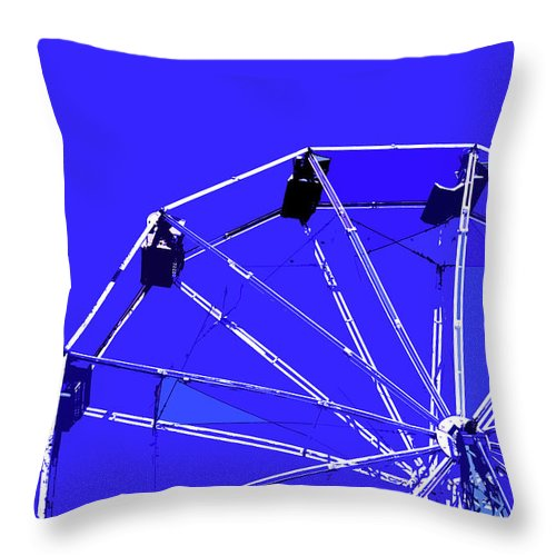 Blue Throw Pillow featuring the painting Blue Ferris Wheel by Glennis Siverson