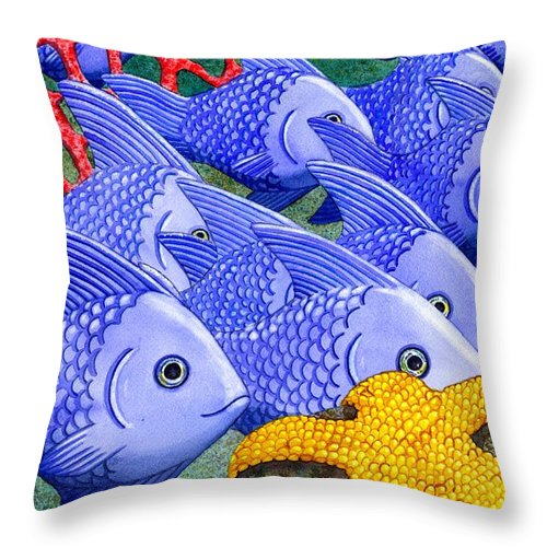 Fish Throw Pillow featuring the painting Blue Fish by Catherine G McElroy