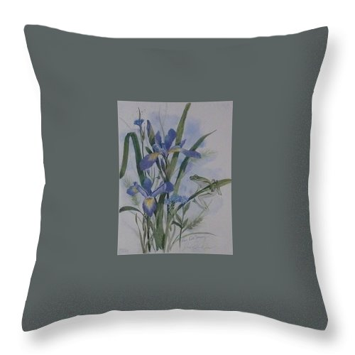 Limited Editions Throw Pillow featuring the painting Blue Flags by Jean Pierre DeBernay