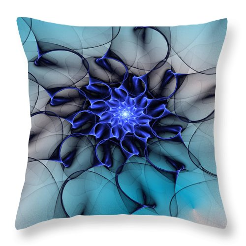 Fine Art Throw Pillow featuring the digital art Blue Floral 083010 by David Lane