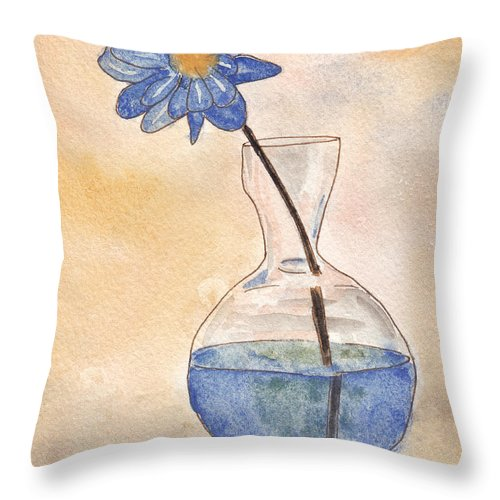 Flower Throw Pillow featuring the painting Blue Flower And Glass Vase Sketch by Ken Powers