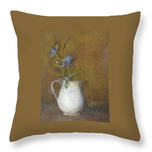 Floral Still Life Throw Pillow featuring the painting Blue Flower by Joan DaGradi