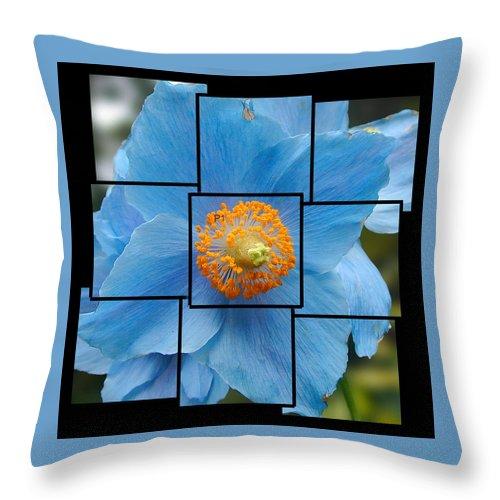 Blue Throw Pillow featuring the sculpture Blue Flower Photo Sculpture Butchart Gardens Victoria Bc Canada by Michael Bessler