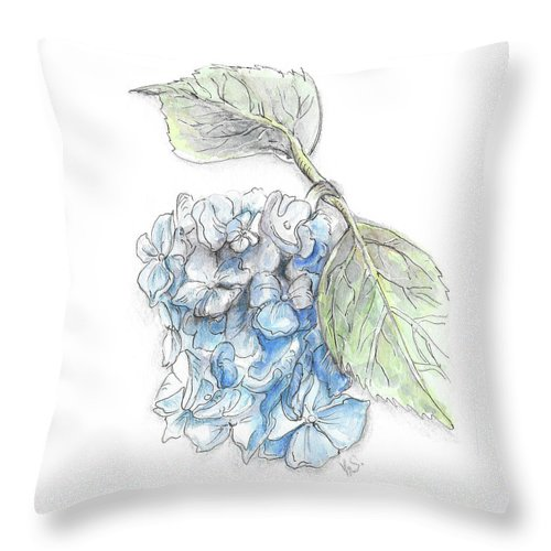 Flower Throw Pillow featuring the painting Blue Flower by Yana Sadykova