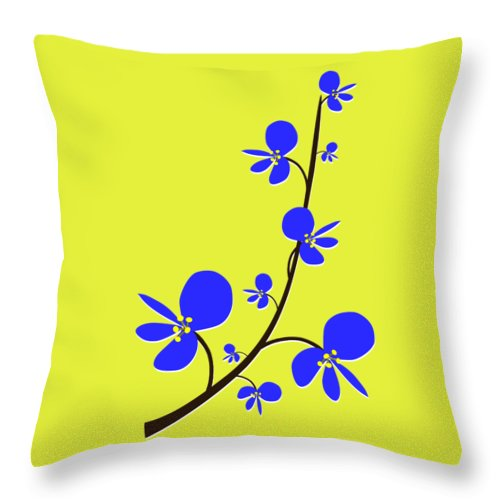Nature Throw Pillow featuring the digital art Blue Flowers by Anastasiya Malakhova