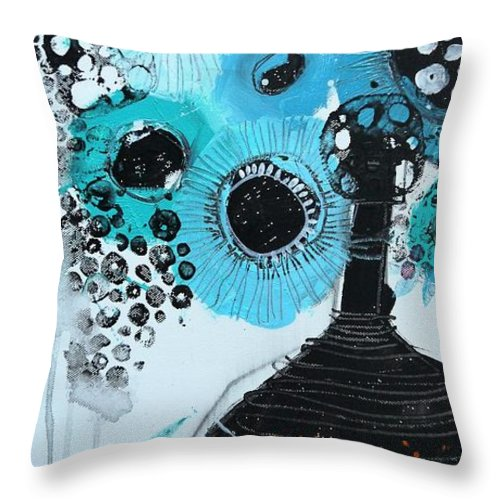 Blue Flowers Throw Pillow featuring the painting Blue Flowers In A Vase by Irina Rumyantseva