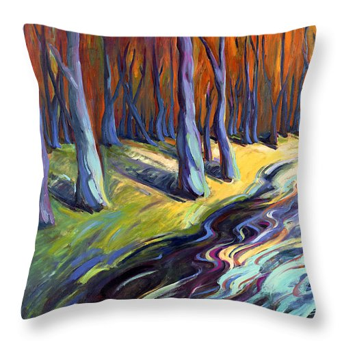 Konnie Throw Pillow featuring the painting Blue Forest by Konnie Kim